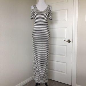 ASOS VILA Cold Shoulder Striped Fitted Maxi Dress